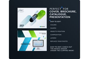 Presentation. Abstract vector set of modern horizontal templates with colourful rounded rectangles for business