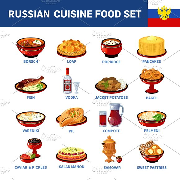 Russian National Food Icons Set