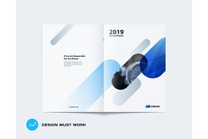 Abstract brochure design, modern annual report, centerfold cover, flyer in A4 with colourful rounded rectangles