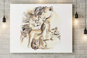Lion Family - Print & Clip Art