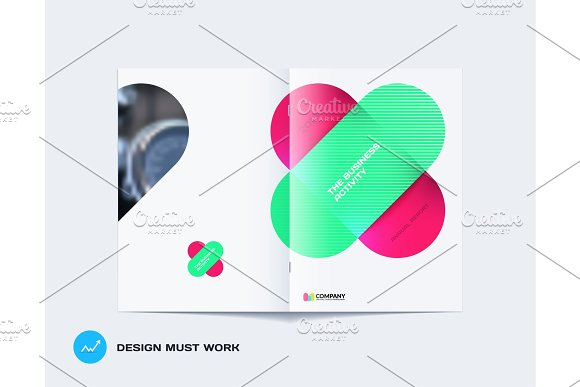 Abstract Brochure Design Modern Annual Report Centerfold Cover Flyer In A4 With Colourful Rounded Rectangles