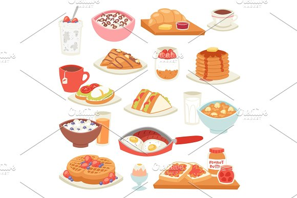 Breakfast Vector Coffee And Fried Eggs With Sweet Dessert In The Morning Illustration Set Of Healthy Food Porridge Or Cereal And Croissant On Coffeebreak Isolated On White Background