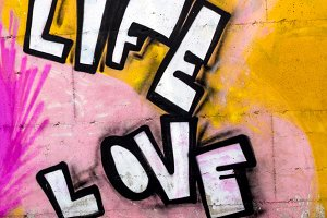The words LIFE and LOVE sprayed onto