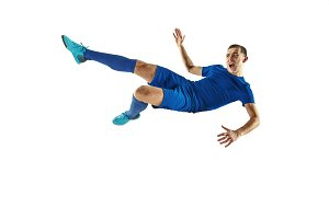 Professional football soccer player isolated white background