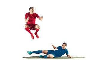 Professional football soccer players isolated white background