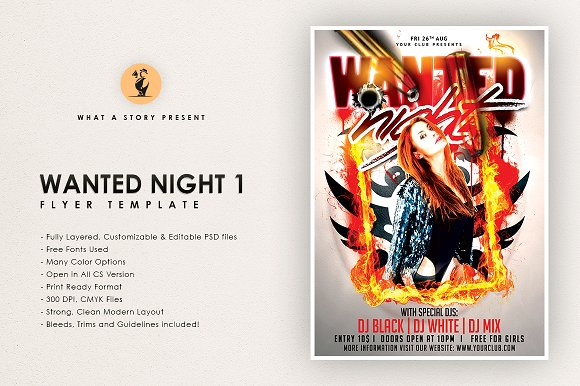 Wanted Night 1 Flyer Templates Creative Market