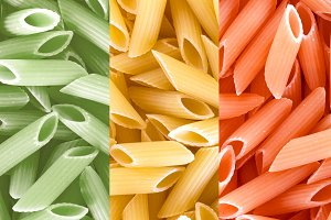 Dried pasta in Italian flag colors