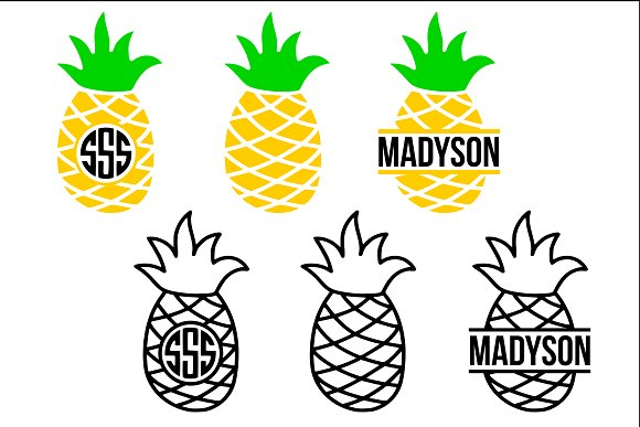 Pineapple Monogram Frame Svg