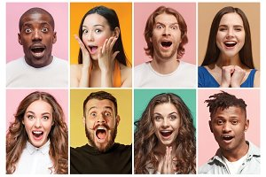 The collage of surprised people