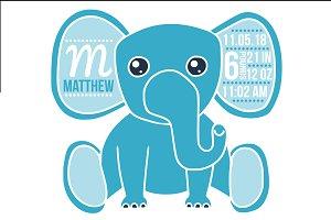 Birth stats elephant svg, baby boy