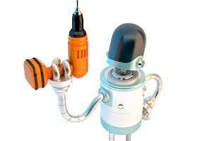 Robot with drill. 3D illustration