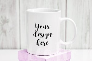 White coffee mug mockup 11oz psd cup
