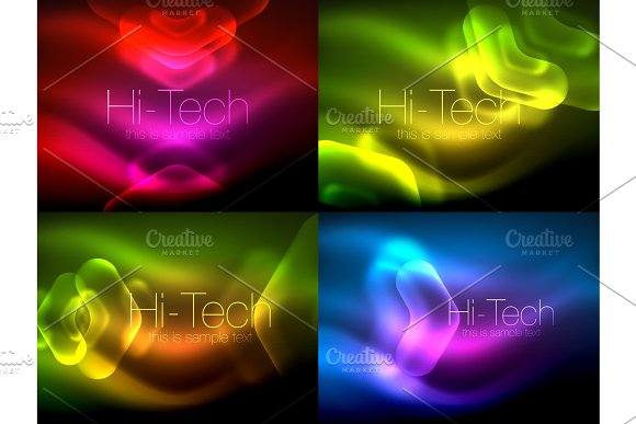 Set Of Abstract Backgrounds Blurred Arrows In Dark Space Neon Pointers Glass Glossy Design Abstract Techno Background Web Banner