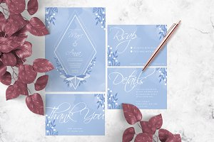 Blue Dragonfly Wedding Invitation