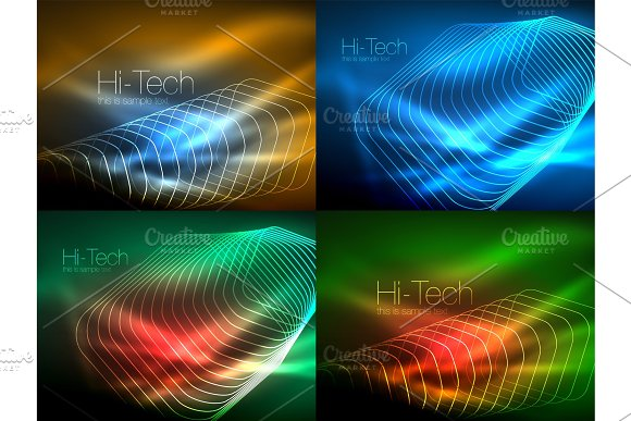 Set Of Glowing Flowing Wave Neon Backgrounds Energy Concept Wave Lines