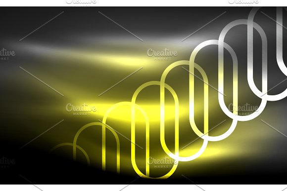 Glowing Ellipses Dark Background Waves And Swirl Neon Light Effect Shiny Vector Magic Effects