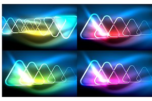 Vector collection of glowing neon shapes in dark abstract backgrounds