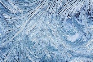beautiful frosty pattern on glass