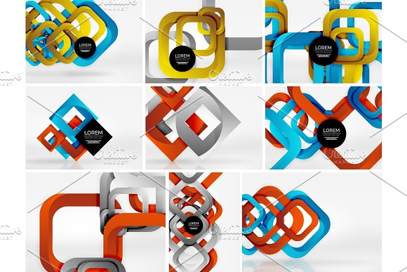 Mega Collection Of 3D Form Vector Abstract Backgrounds With Cut Style 3D Geometric Forms Lines Squares Rectangles Business Presentation Design Templates Brochure Or Flyer Concepts