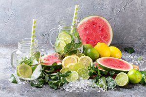 Watermelon, lemon and lime lemonade