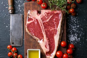 Fresh raw T-bone steak
