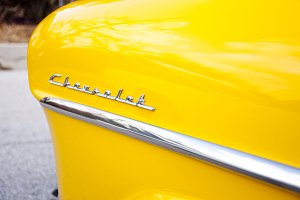 Classic Yellow Chevrolet Car Emblem