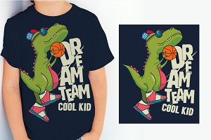 dinosaur, basketball player
