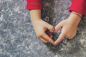 hands of the child. Selective focus.