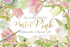 Pastel Pink-WatercolorClipartSet