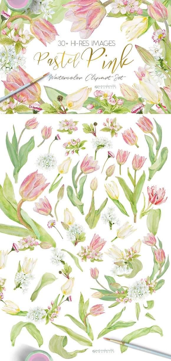 Pastel Pink-WatercolorClipartSet