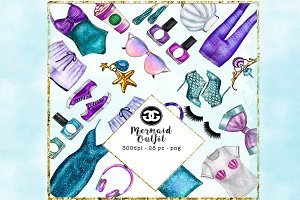 Mermaid fashion clip art set