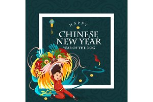 Chinese Lunar New Year Lion Dance Fight isolated on dark background, happy dancer in china traditional costume holding colorful dragon mask on parade or carnival, cartoon style vector illustration
