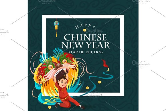 chinese lunar new year lion dance fight isolated on dark background happy dancer in china