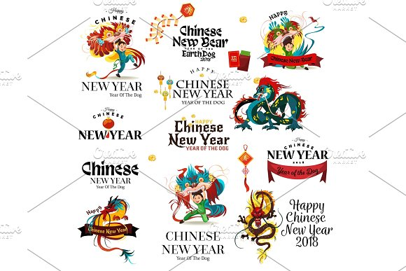 New Year Of The Dog 2018 Lettering Cards On White Background Traditional Chinese Dragon Ancient Symbol Of Asian Or China Culture Decoration Mythology Animal Vector Illustration