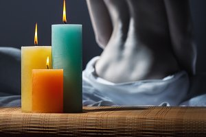Candles and woman