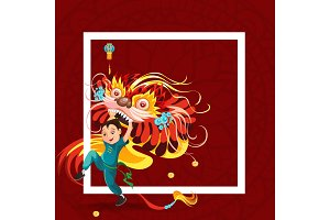 Chinese Lunar New Year Lion Dance Fight isolated on red background, happy dancer in china traditional costume holding colorful dragon mask on parade or carnival, cartoon style vector illustration