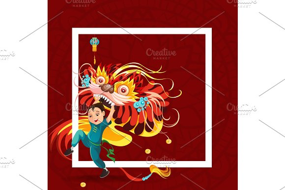 chinese lunar new year lion dance fight isolated on red background happy dancer in china