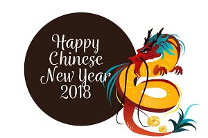 Traditional chinese Dragon, ancient symbol of asian or china culture, decoration for new year celebration, mythology animal vector illustration, idea for tattoo design