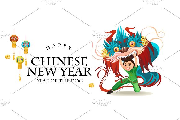 Chinese Lunar New Year Lion Dance Fight Isolated On White Background Happy Dancer In China Traditional Costume Holding Colorful Dragon Mask On Parade Or Carnival Cartoon Style Vector Illustration