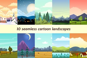 10 seamless cartoon landscapes