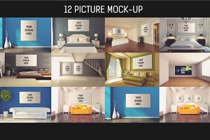 12 Picture on Wall Mock-up Pack#5