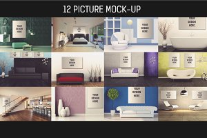 12 Picture on Wall Mock-up Pack#2