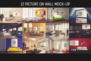 12 Picture on Wall Mock-up Pack#1