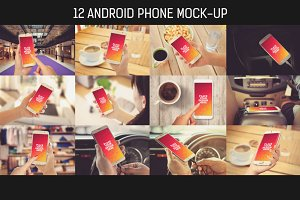 12 Android Phone Mock-up Pack