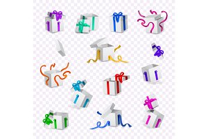 Vector cartoon present gift box ribbon bow set