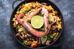 Seafood paella. Traditional spanish dish, top view.