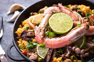 Seafood paella. Traditional spanish dish.
