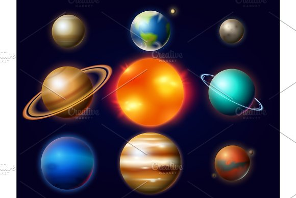 Planets In Solar System Moon And The Sun Mercury And Earth Mars And Venus Jupiter Or Saturn And Pluto Astronomical Galaxy Space Vintage Style For Label