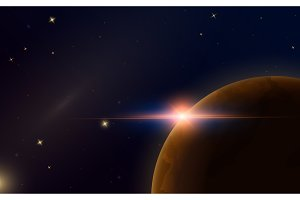 Sunrise in space. Red Planet Mars. Astronomical galaxy background. Light in the night sky. Solar system for the banner. Modern design of the universe for cards.