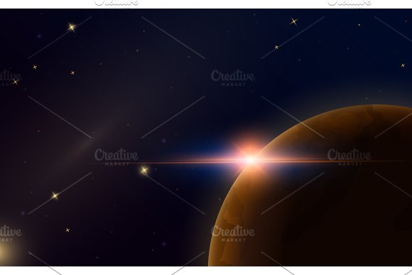 Sunrise In Space Red Planet Mars Astronomical Galaxy Background Light In The Night Sky Solar System For The Banner Modern Design Of The Universe For Cards